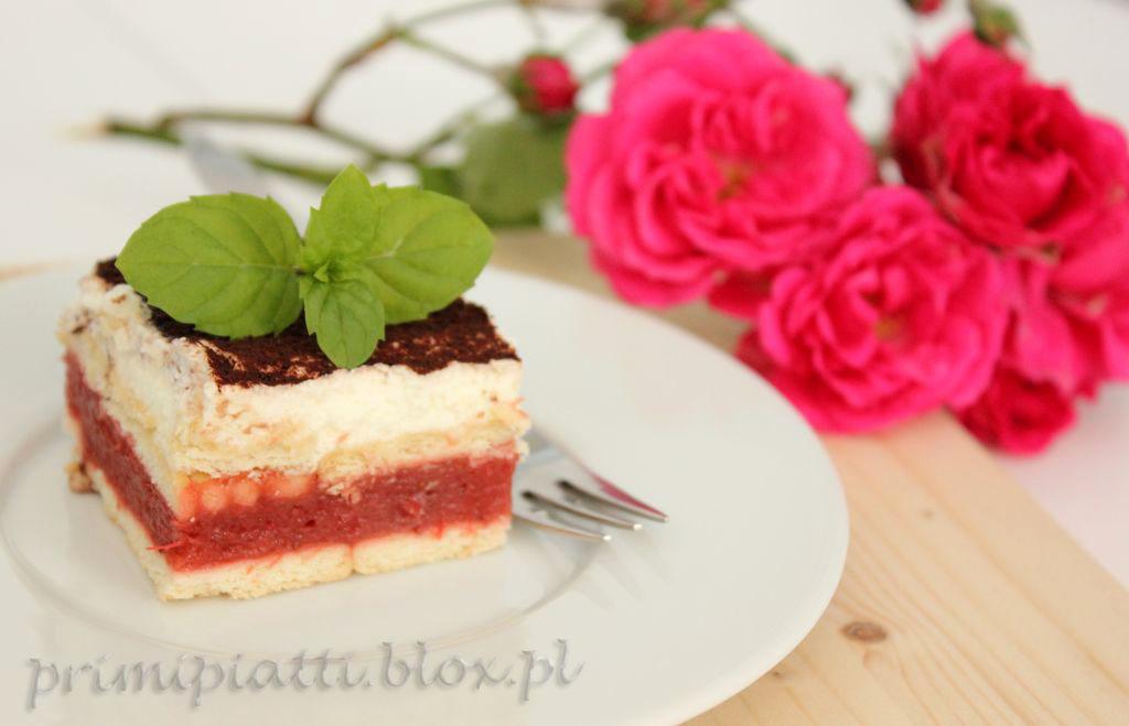 Ciasto z musem rabarbarowo -truskawkowym – bez pieczenia
